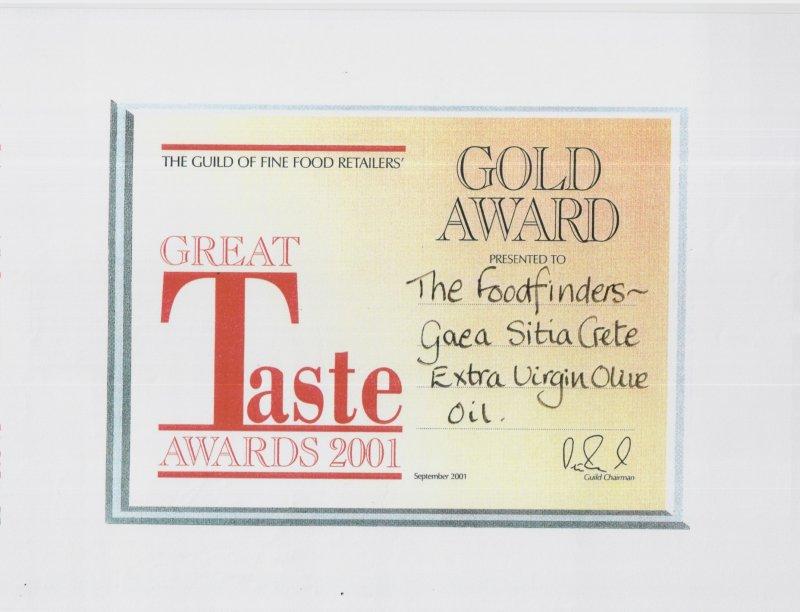 2001 Χρυσό βραβείο στο διαγωνισμό Great Taste Awards.