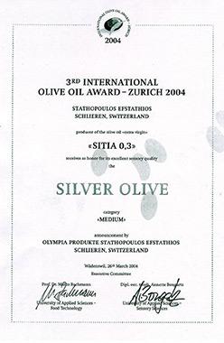 2004 το 2ο βραβείο στο διαγωνισμό του University of Applied Sciences – Food Technology στην Ελβετία.